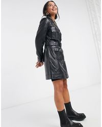 Muubaa Utility Tie Waist Leather Jacket - Black