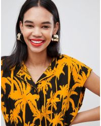 Weekday - Palm Print Top With Drawstring - Lyst