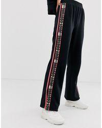 Juicy Couture Choose Juicy Slogan Taped Wide Leg Trackpants-black