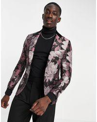 Twisted Tailor Veste de costume à imprimé floral en jacquard avec revers contrastés - Noir et rose