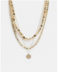 ASOS Multirow Necklace With Dipped Pearls And Coin Pendant - Metallic
