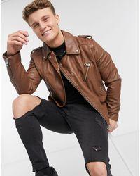 ASOS Leather Biker Jacket - Brown
