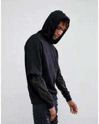 ASOS - Asos Oversized Hoodie With Double Layer Lace Sleeve - Lyst
