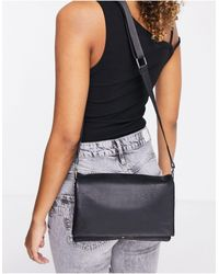 ASOS Black Leather Multi Gusset Cross-body Bag With Wide Strap