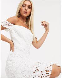 Chi Chi London Bardot Lace Midi Dress With Flippy Hem - White