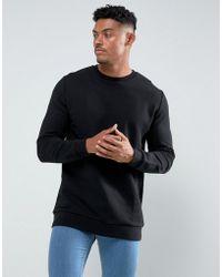 ASOS - Longline Sweatshirt In Black - Lyst