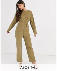 ASOS Cord Relaxed Boilersuit - Natural
