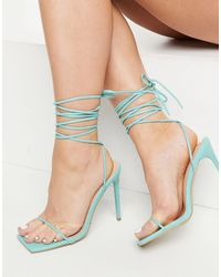 SIMMI Shoes Simmi London - Sina - Sandali con tacco e laccio alla caviglia, colore verde marino