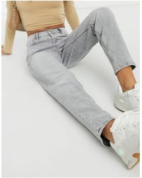 Mango Mom jeans slim lavaggio grigio chiaro