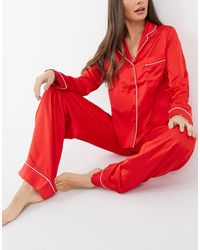 Missguided Satin Pyjama Set - Red
