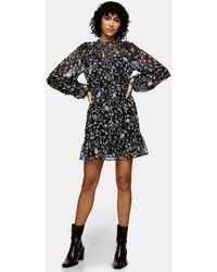 TOPSHOP Ruffle Detail Mini Dress - Black