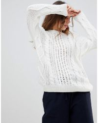 Monki - Cable Knit Jumper - Lyst