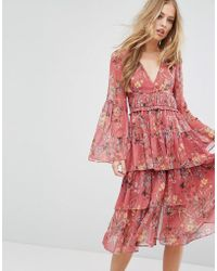 Forever New - Frill Midi Dress In Floral Print - Lyst