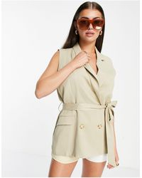 ALIGNE Recycled Double Breasted Waistcoat With Belt Co-ord - Natural