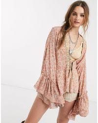 Free People – Lola – Gemusterter Kimono mit Bindebändchen, Naturfarben - Mehrfarbig