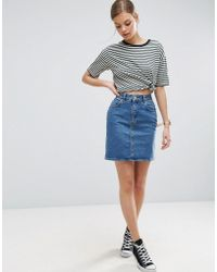 ASOS - Denim Original High Waisted Skirt In Mid Wash Blue - Lyst
