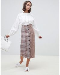 ASOS - Tailored Cut About Check Button Midi Skirt - Lyst