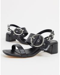TOPSHOP Dakota Buckle Detail Block Heel - Black