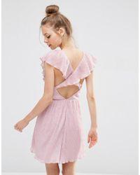 ASOS - Soft Ruffle Lace Plunge Mini Dress - Lyst