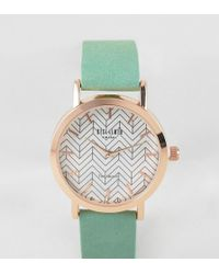 Reclaimed (vintage) - Inspired Geometric Suede Watch In Gray 38mm Exclusive To Asos - Lyst
