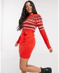 Brave Soul Fairisle Christmas Jumper Dress - Red