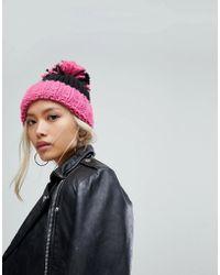 78506b9b33b Helene Berman - Turn Up Beanie With Oversized Pom Pom In Pink - Lyst