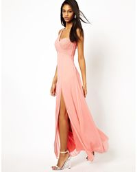 Lipsy One Shoulder Maxi Dress With Embellishment-pink