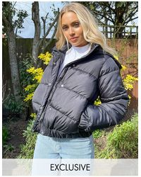 Missguided Padded Jacket With Hood - Black