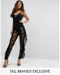 Missguided Exclusive Frill Lace Jumpsuit - Black