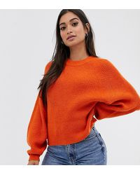 ASOS Asos Design Petite Fluffy Sweater With Balloon Sleeve - Orange