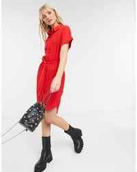Vero Moda Красное Платье-рубашка Мини C Завязкой Спереди -красный