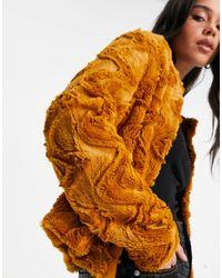 Vero Moda Шуба Из Искусственного Меха Горчичного Цвета -коричневый Цвет