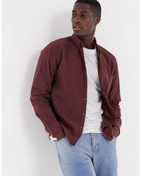 Abercrombie & Fitch Camicia a maniche lunghe bordeaux con logo ad alce - Rosso