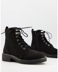 London Rebel Lace Up Ankle Boots - Black