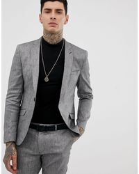 Heart & Dagger Skinny Fit Suit Jacket - Grey