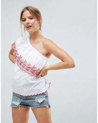 ASOS - One Shoulder Top In Cotton With Cutwork & Embroidery - Lyst