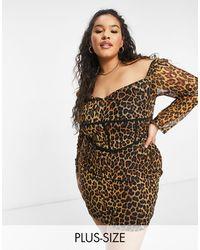 NaaNaa Plus Mesh Bodycon Dress - Brown