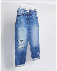 River Island Carrie Ripped Mom Jeans - Blue