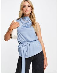 River Island Belted Satin Cowl Neck Sleeveless Top - Blue