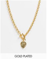 Astrid & Miyu Wreath T-bar Necklace - Metallic