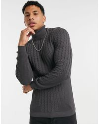 ASOS Muscle Fit Cable Roll Neck Sweater - Gray