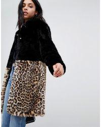 Barneys Originals - Manteau fausse fourrure color block motif lopard - Lyst