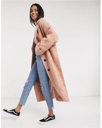 ASOS Manteau ample texturé coupe oversize avec manches chauve-souris - Rose