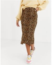 Daisy Street Button Front Midi Skirt - Brown