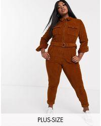 Simply Be Cord Boiler Suit - Brown