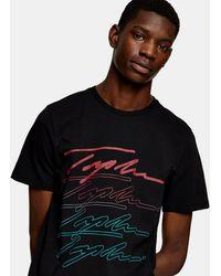 TOPMAN Topmn T-shirt With Signature Front Print - Black