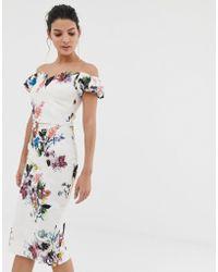 Little Mistress - Robe fourreau à fleurs style Bardot - Lyst