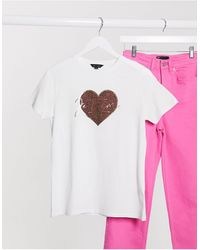 New Look T-shirt avec motif cœur à imprimé léopard - Blanc