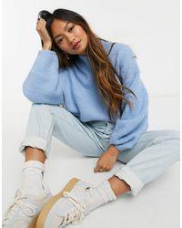 Weekday Aino High Neck Oversize Sweater - Blue