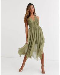ASOS Zachte Cami Midi-jurk Met Gerimpeld Lijfje En Onafgewerkte Zoom - Groen